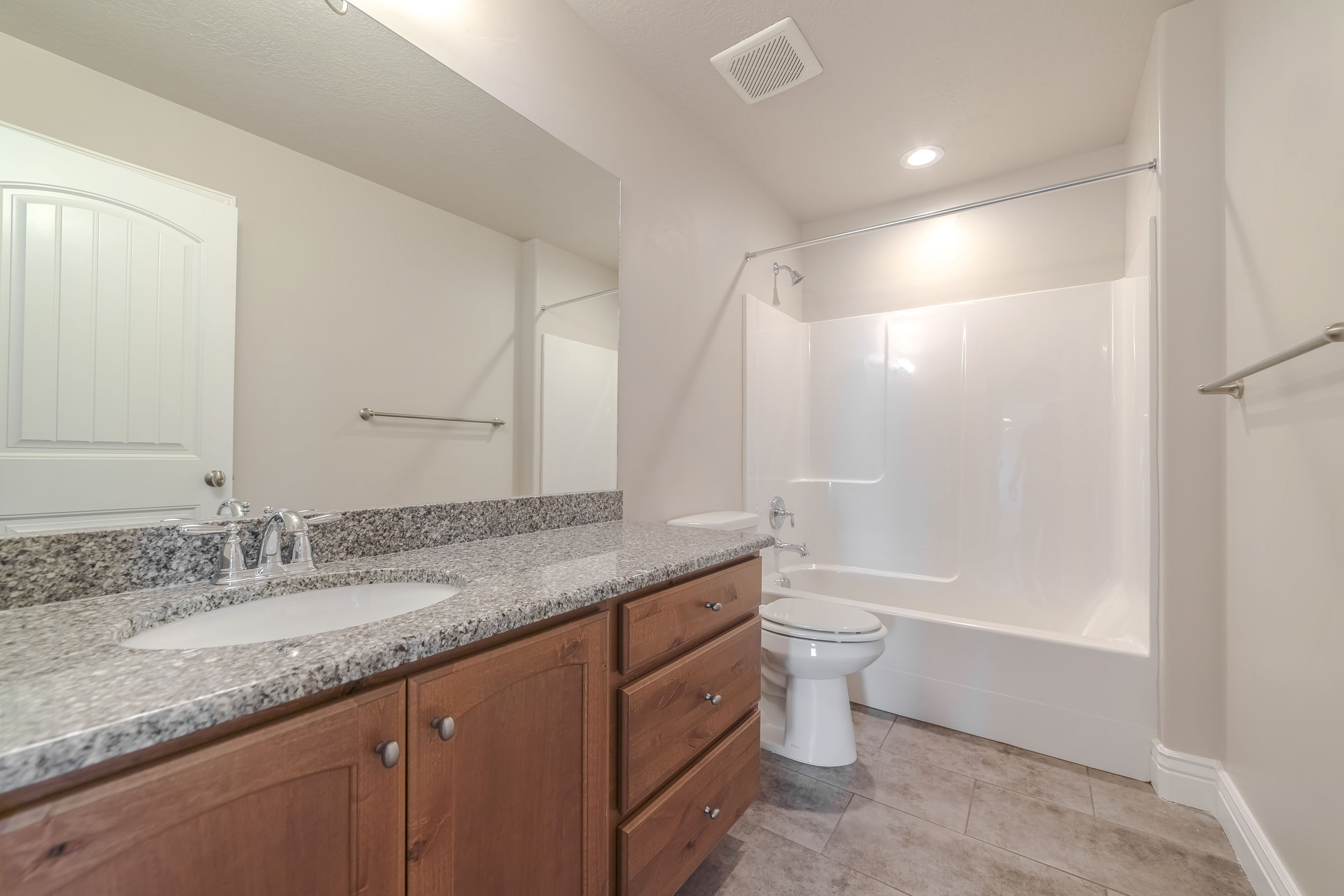 Interior of a modern bathroom with marble vanity